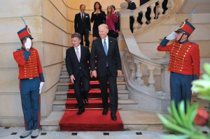 President Joe Biden and Juan Manuel Santos at the Casa de Nariño in Bogotá (Photo by Juan Pablo Bello, SIG)